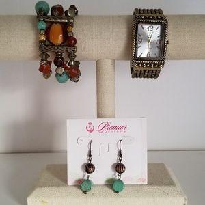 Premier Designs Bracelet, Earrings, and Watch